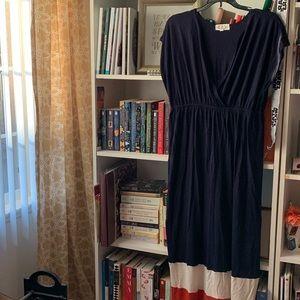 Pink Rose XL Navy Blue Maxi Dress Orange Cream